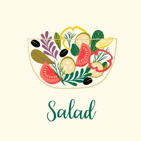 insalata di verdure. Cibo salutare. vettore