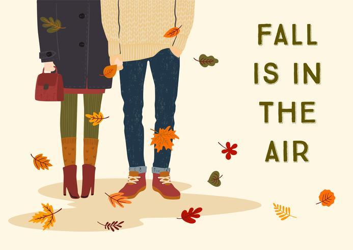 Fall Is In The Air con coppia romantica vettore