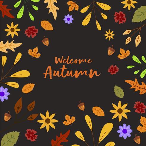 Foglie Di Autunno E Sfondo Di Noci Per L'autunno vettore