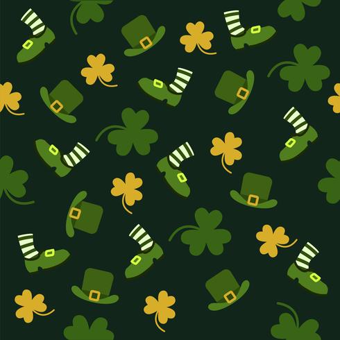 Giorno di San Patrizio con foglie verdi e piccoli gialli vettore