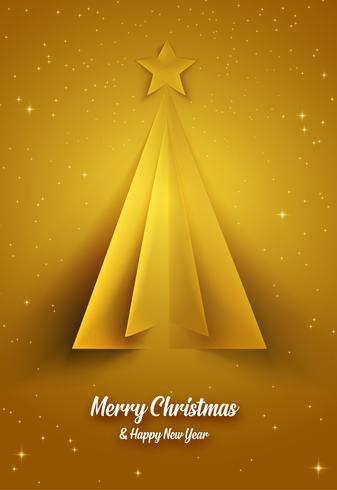 Cartolina di Natale dorata con albero di Natale vettore