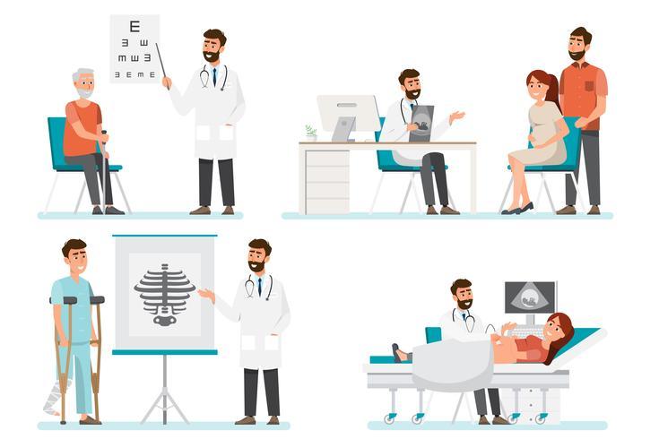 Set di personaggi dei cartoni animati di medico e pazienti vettore