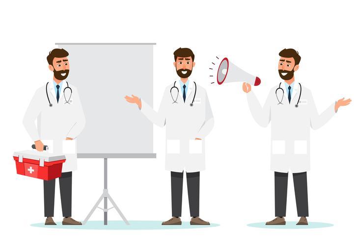 Set di personaggi dei cartoni animati medico vettore