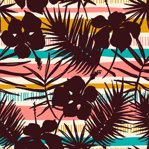 Modello senza cuciture astratto con piante tropicali vettore