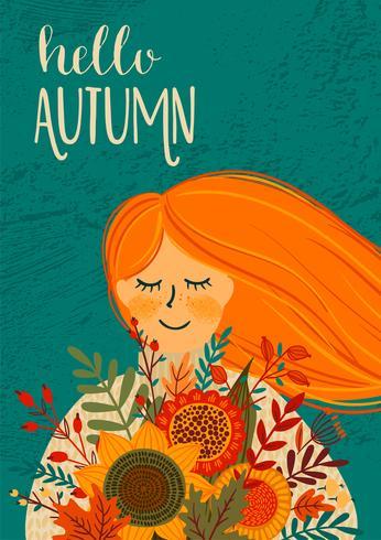 Ciao Autumn Card vettore