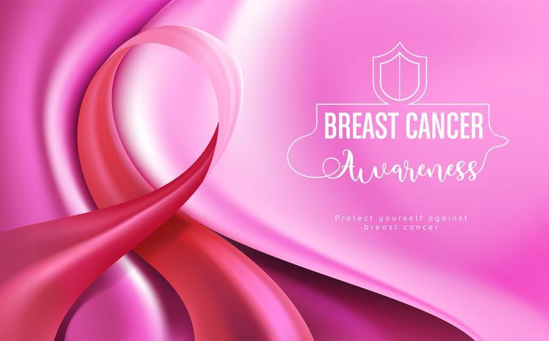 Scheda campagna di sensibilizzazione sul cancro al seno vettore