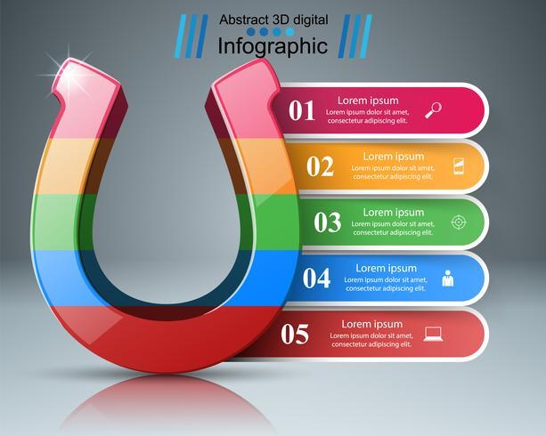 Icona a ferro di cavallo 3d - affari infographic. vettore
