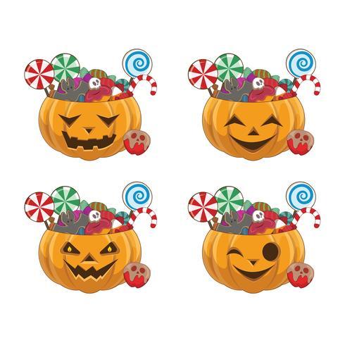 Set di zucche di Halloween con quattro diverse facce piene di dolci vettore