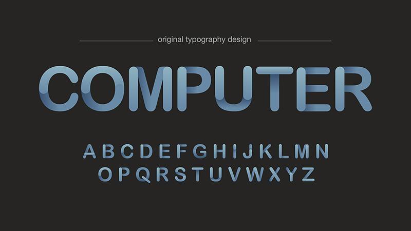 Tipografia arrotondata digitale semplice sfumatura vettore