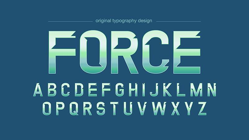 Tipografia moderna verde cromata vettore