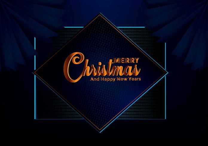 Sfondo scuro blu di Natale con bordo fatto di stelle di lamina d'oro di ritaglio e fiocchi di neve d'argento vettore