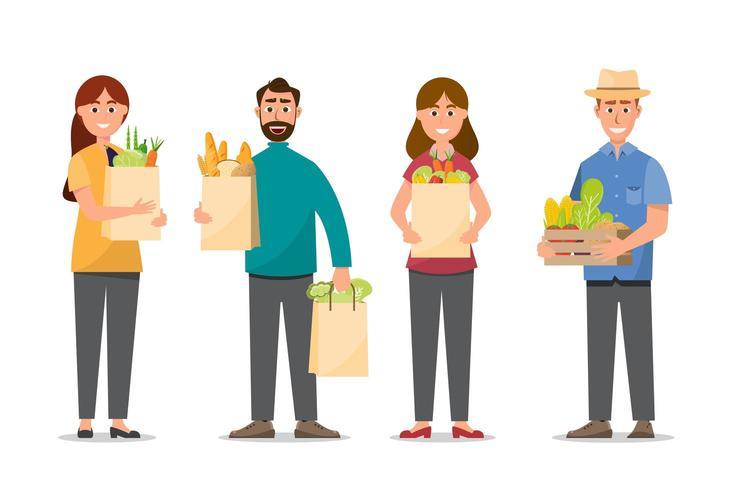 uomo e donna, shopping e possesso di borse piene di cibo vettore