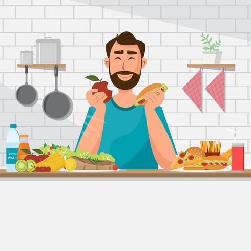 L'uomo sta mangiando cibo sano e cibo spazzatura vettore