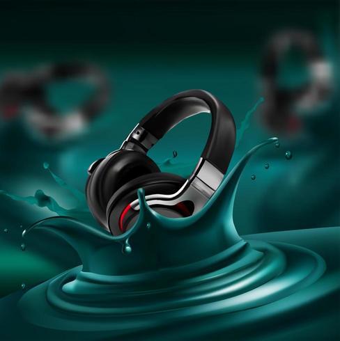 microfono verde splash vettore