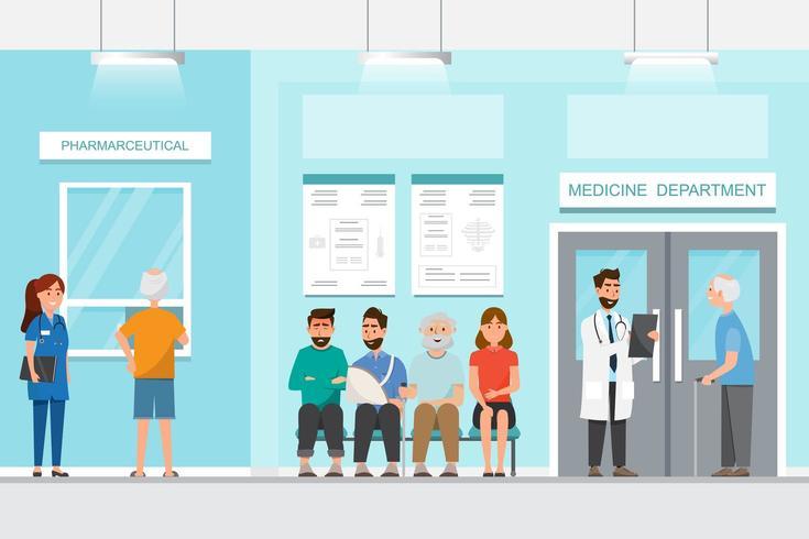 il paziente si siede e aspetta davanti alla stanza dell'ospedale vettore