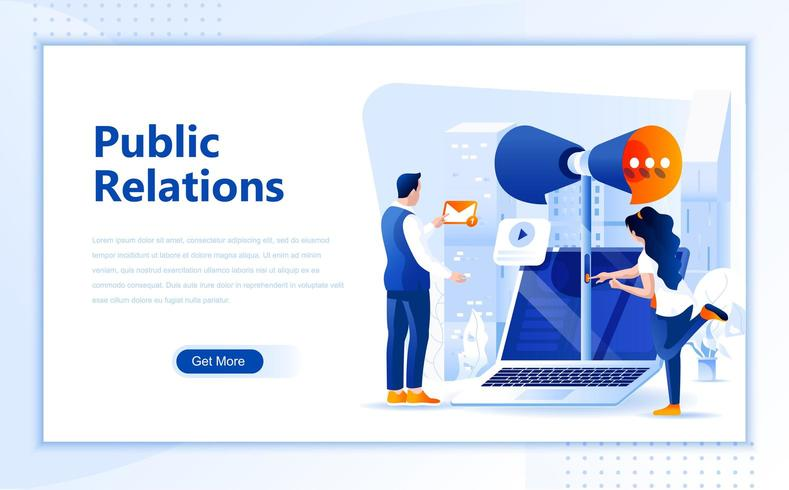 Design piatto di pagine web di pubbliche relazioni vettore
