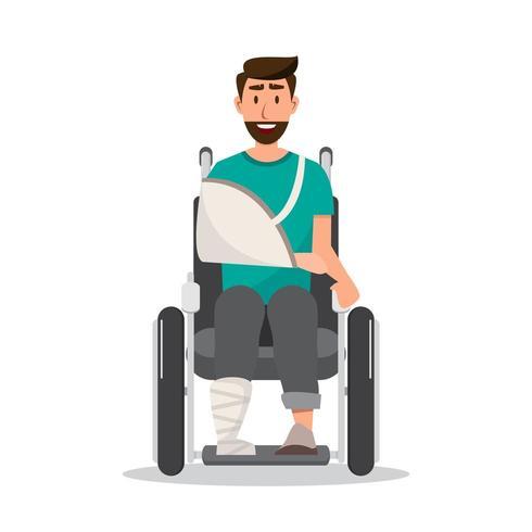 sorriso uomo ferito indossando una benda sulla sedia a rotelle vettore