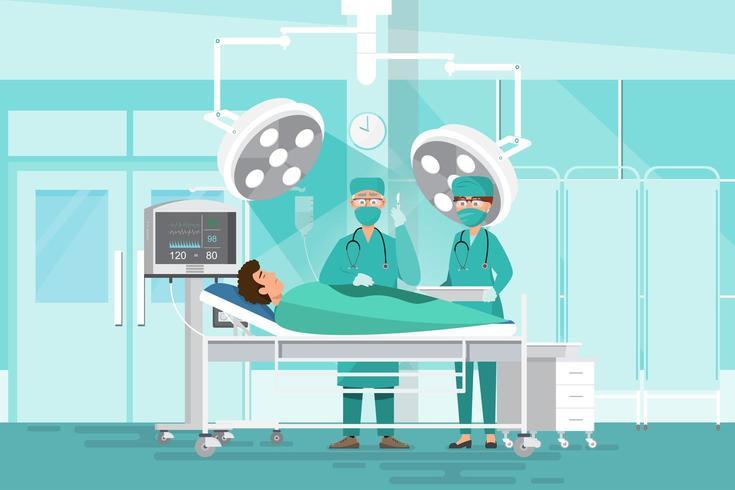 Operatori medici del team chirurgo vettore