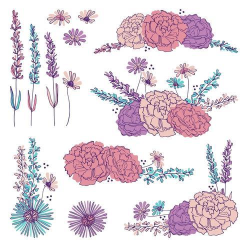 Elementi floreali disegnati a mano vettore