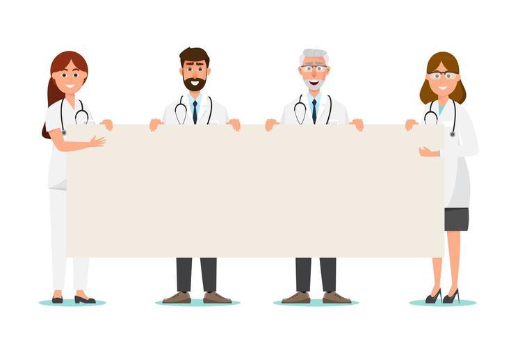 Set di personaggio dei cartoni animati medico con spazio di copia vettore