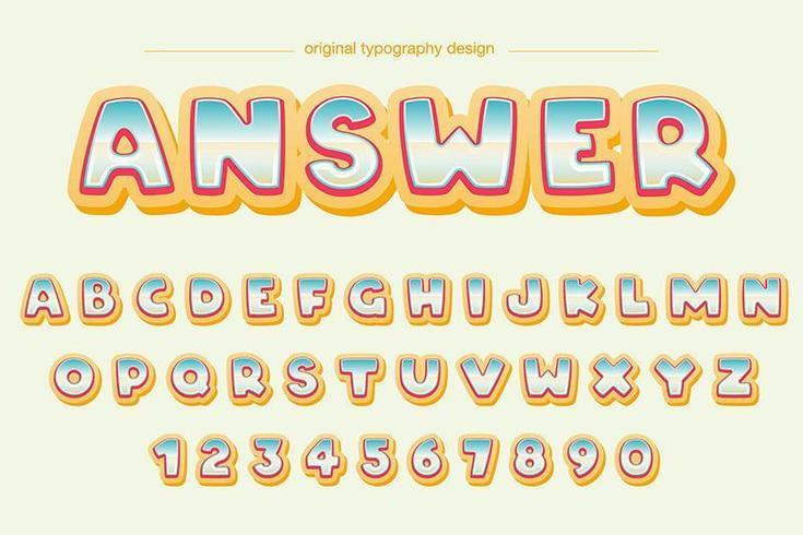 Tipografia bolla colorata dei cartoni animati vettore