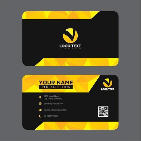 Biglietto da visita colorato moderno giallo poli basso vettore