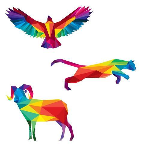Illustrazione di animali colorati poli basso vettore