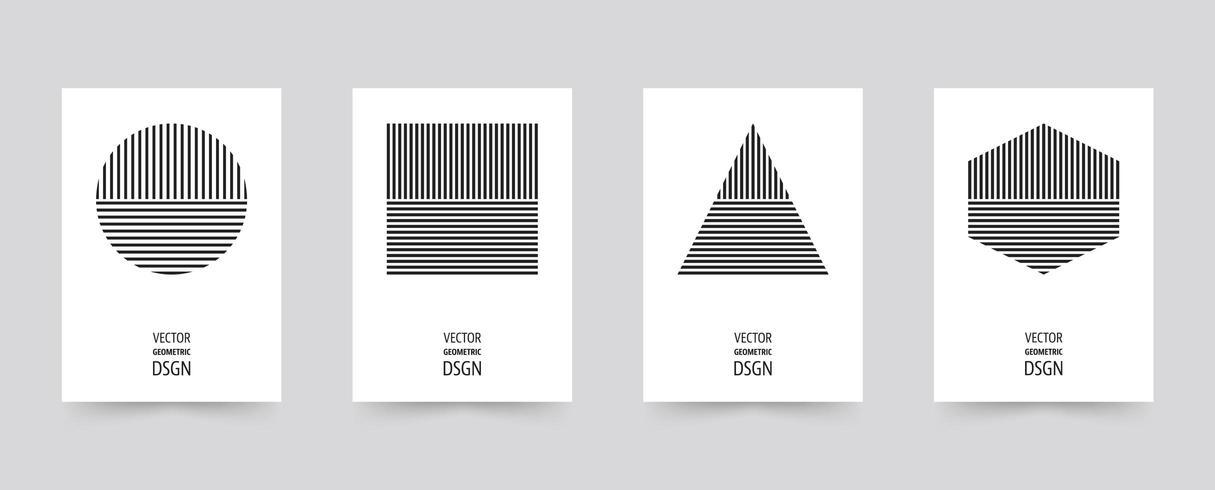 Set di brochure di forme geometriche nere vettore