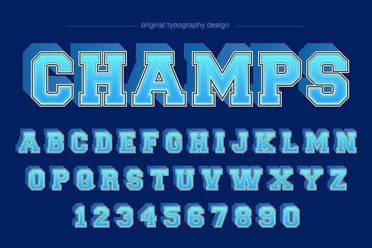 tipografia squadra squadra varsity blu vettore
