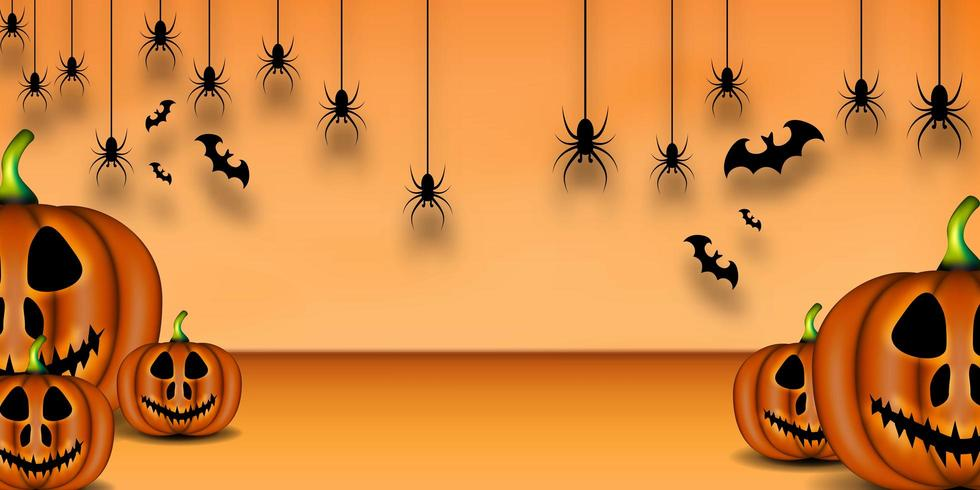 Felice sfondo di Halloween, zucca, pipistrello e ragno vettore