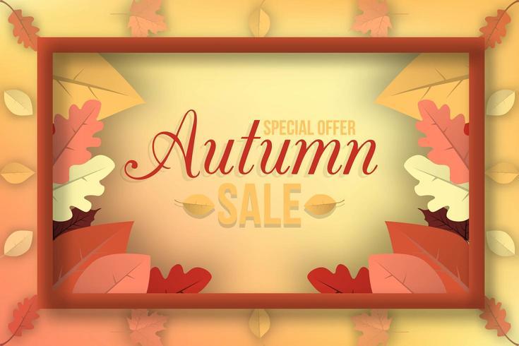 Insegna di vendita di autunno con la struttura delle foglie di caduta vettore