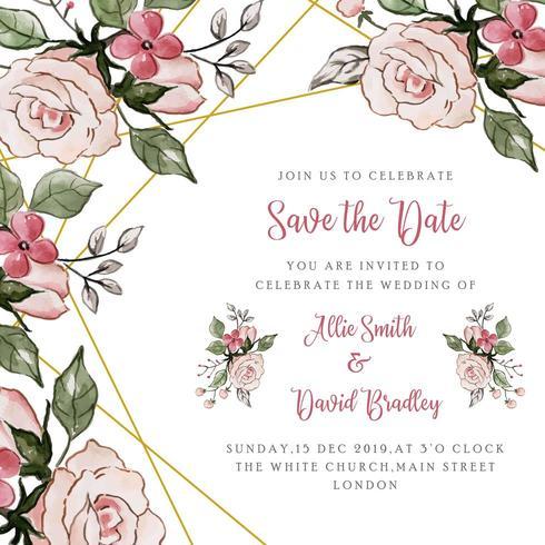 Salva la data Invito a nozze floreale vettore