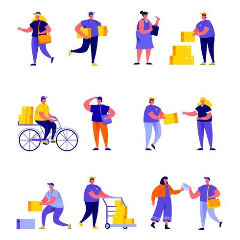 Insieme di lavoratori e servizi di consegna piatta vettore