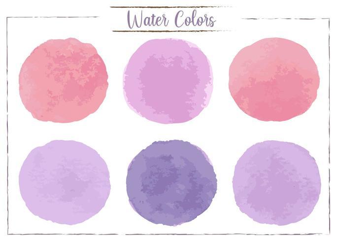 Macchie di acquerello rosso, rosa, viola, viola scuro su uno sfondo bianco. vettore