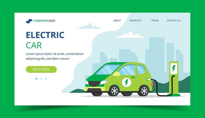 Pagina di destinazione dell'auto elettrica vettore