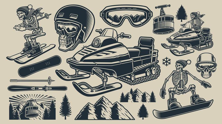 Collezione di design per sport invernali vettore