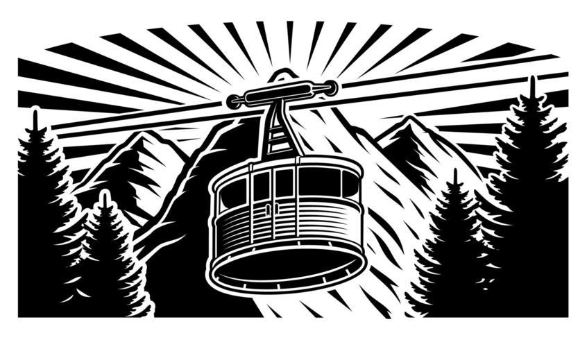 Funicolare vintage e montagne in bianco e nero vettore