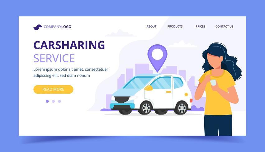 Concetto di car sharing. Donna con smartphone. Modello di pagina di destinazione vettore