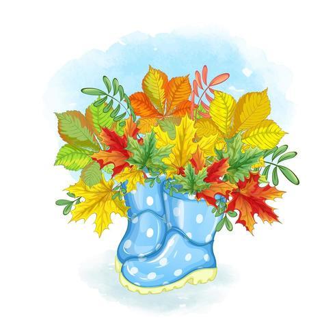 Bouquet di fiori in stivali da pioggia vettore
