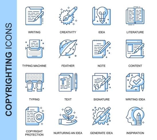 Set di icone relative al copyright di linea sottile blu vettore