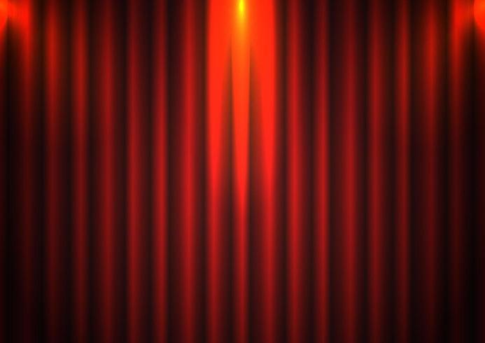 Sfondo rosso sipario con riflettori in teatro vettore