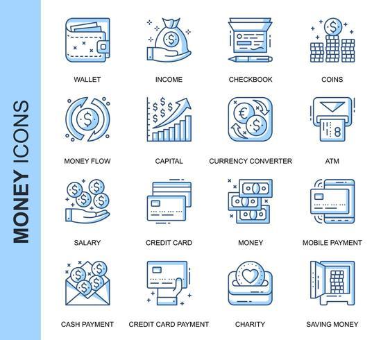 Set di icone correlate denaro linea sottile blu vettore