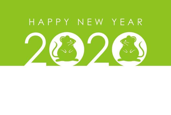 2020 - l'anno del topo - modello di carta verde di Capodanno. vettore