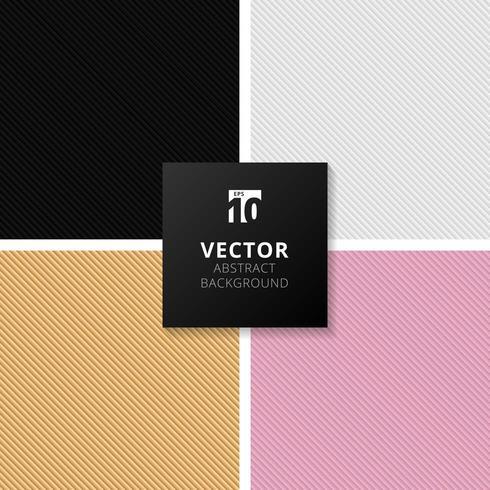 Insieme del reticolo diagonale di linee a strisce sfumate astratte nere, bianche, oro, rosa vettore