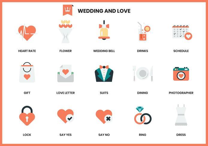 Set di icone di nozze e amore vettore