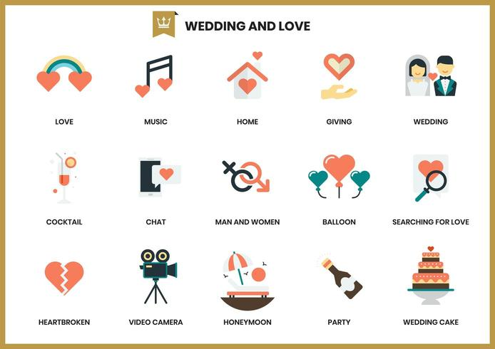 Icone di nozze messe per affari vettore