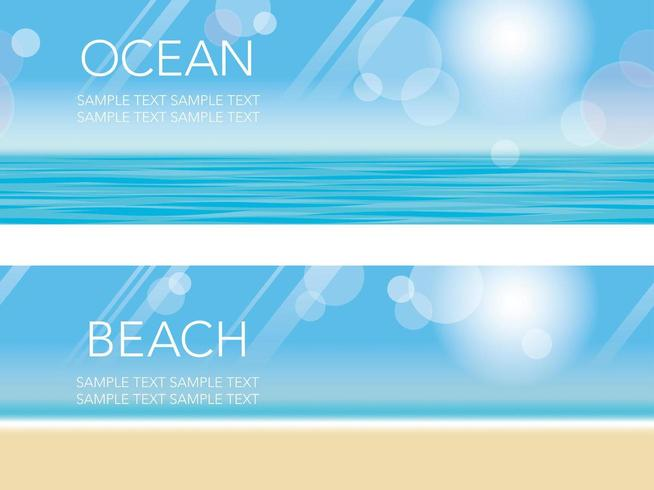 Set di due sfondo spiaggia senza soluzione di continuità vettore