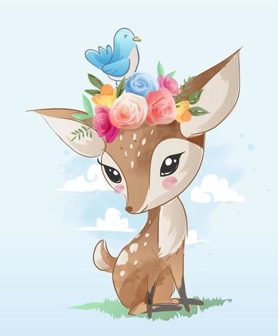 cervo simpatico cartone animato con illustrazione di corona floreale vettore