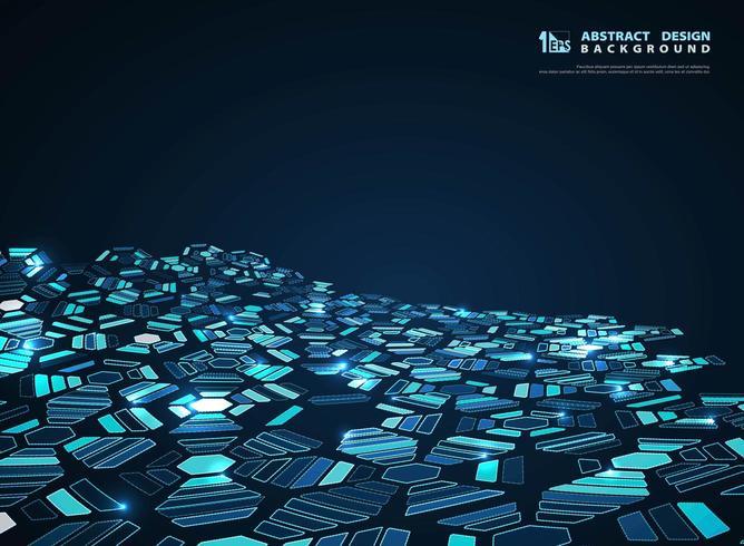 Modello di esagono sfuggente futuristico blu incandescente astratto vettore