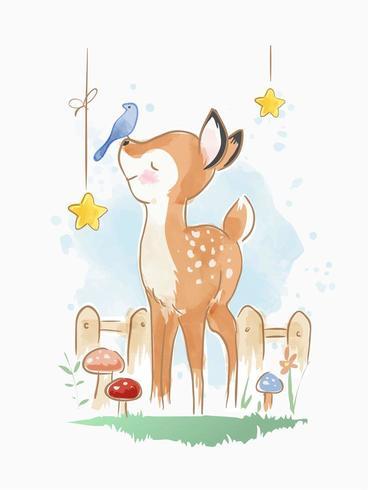 cervo simpatico cartone animato con uccellino illustrazione vettore